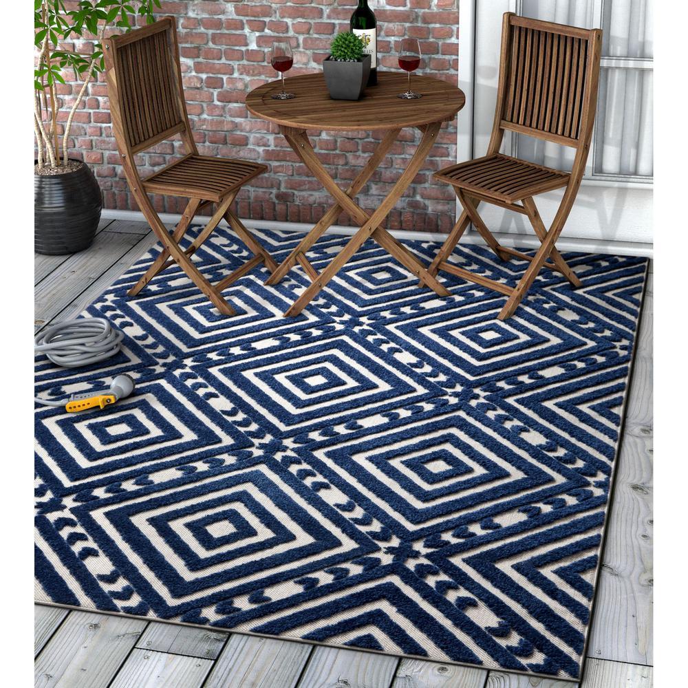 Dorado Metier 7 ft. 10 in. x 9 ft. 10 in. Modern Geometric Trellis Blue High-Low Indoor/Outdoor Area Rug
