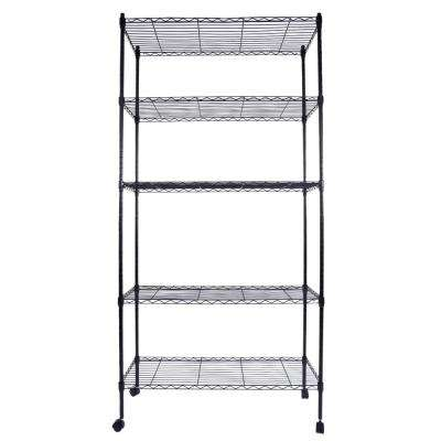 65 in. X 35 in. Black Plastic Coated Iron Metal 5-Layer Shelf with 1.5 in. Nylon Wheels