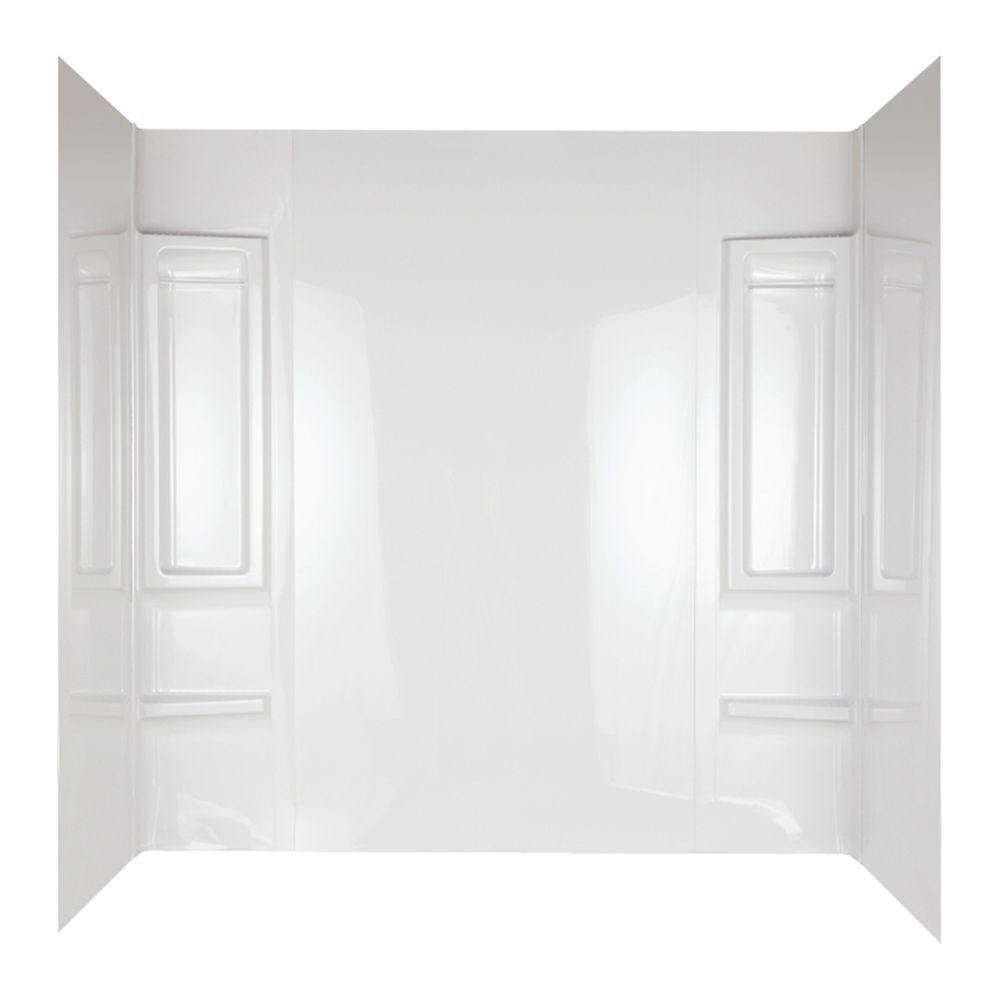 null Galiant 31 in. x 60 in. x 80 in. 5-Piece Easy Up Adhesive Tub Wall in White
