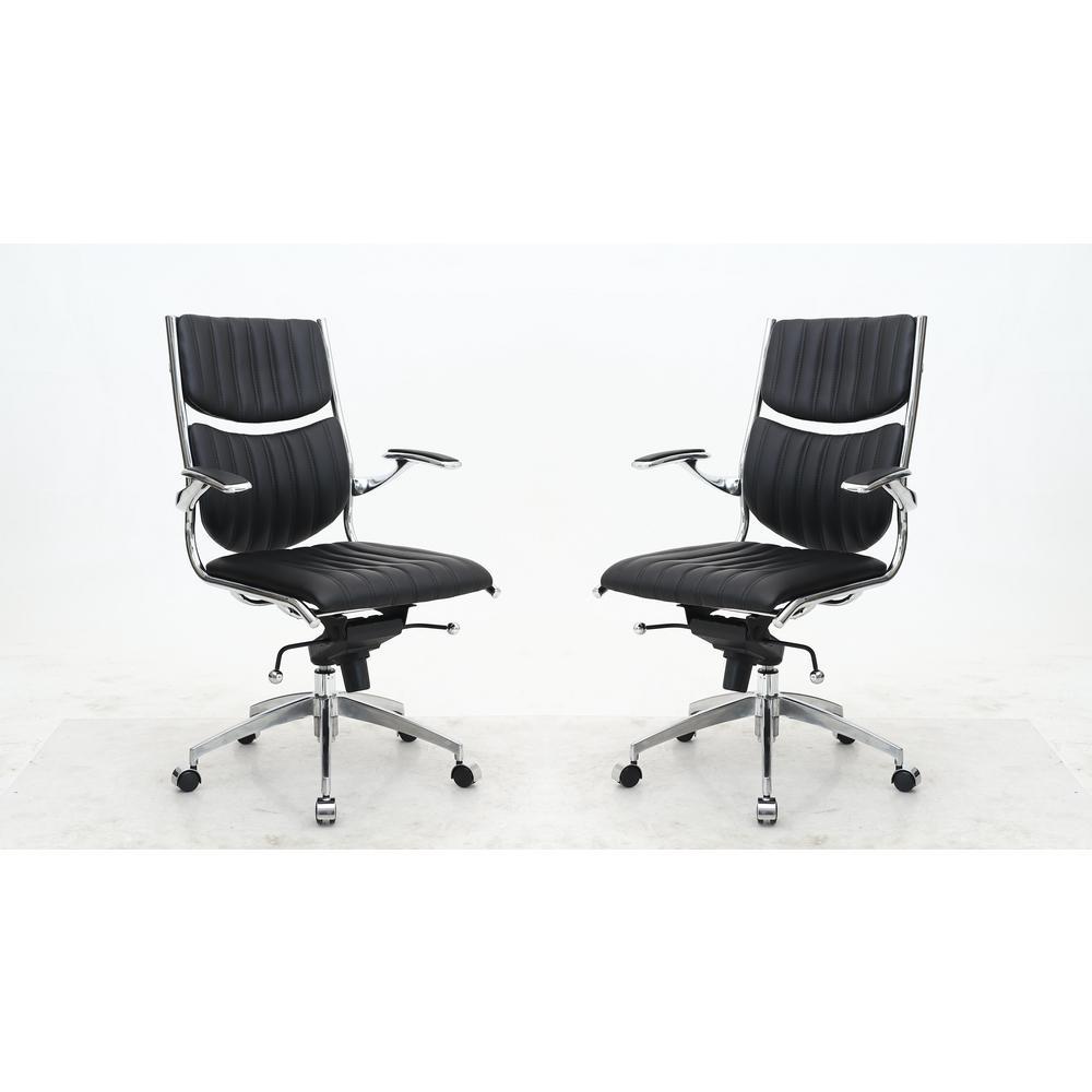 Ergonomic High Back Verdi Black Office Chair (Set of 2)