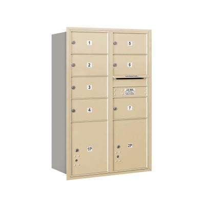 3700 Series 48 in. 13 Door High Unit Sandstone USPS Rear Loading 4C Horizontal Mailbox with 7 MB2 Doors and 2 PL5's