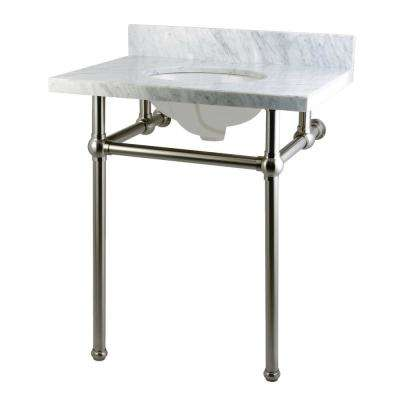 Washstand 30 in. Console Table in Carrara White with Metal Legs in Satin Nickel