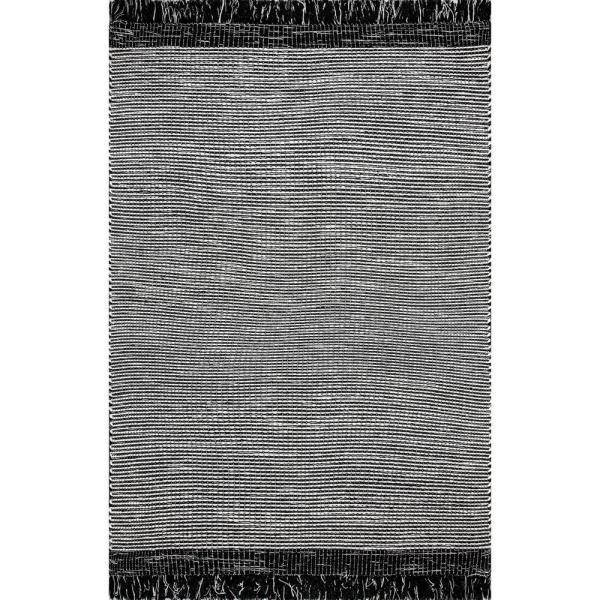 Pinto Striped Black 5 ft. x 8 ft.  Area Rug