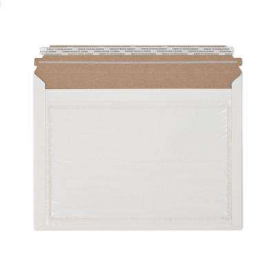 12.5 in. x 9.5 in. White Paperboard Stay Flat Mailers Envelope with Adhesive Easy Close Strip and Window (250-Case)