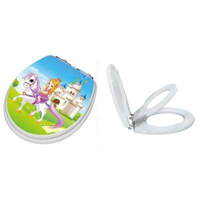 TinyHiney Princess Slow Close Children's Round Closed Front Toilet Seat in White