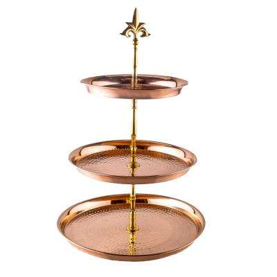 3-Tier Hammered Solid Copper Serving Tray with Brass Stem