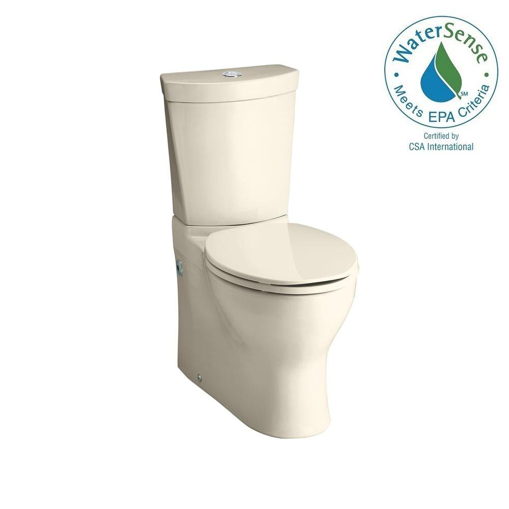 KOHLER Persuade 2-piece 0.8 or 1.6 GPF Dual Flush Elongated Toilet in Almond