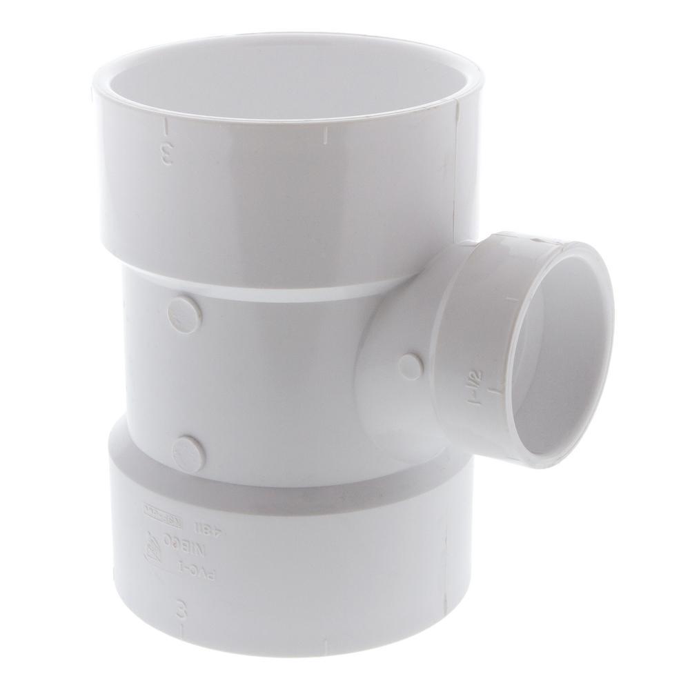 3 in. x 3 in. x 1-1/2 in. PVC DWV All-Hub Sanitary Reducing Tee