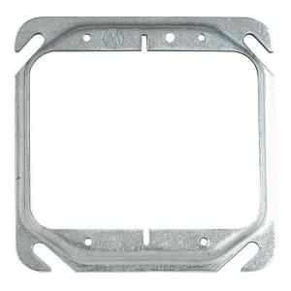 4 in. Metal 2-Gang 2.3 cu. in. Square Pre-Galvanized Mud Ring - 1/4 in. Raised