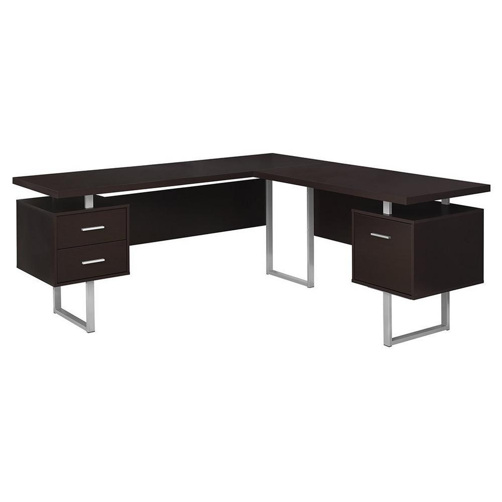 70 in. Cappuccino Contemporary Furniture Computer Desk