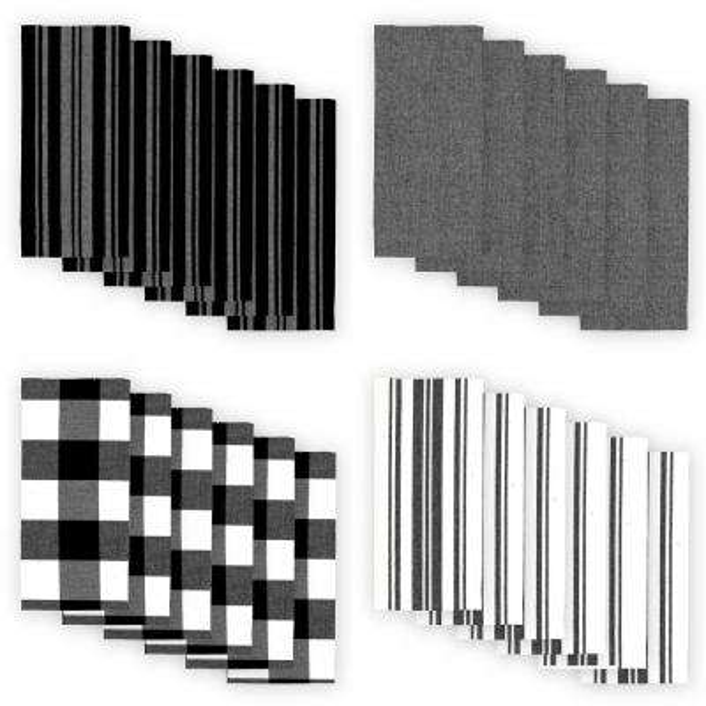 Farmhouse Living Stripe and Check 20 in. W x 20 in. L Black/White Napkins (Set of 24)