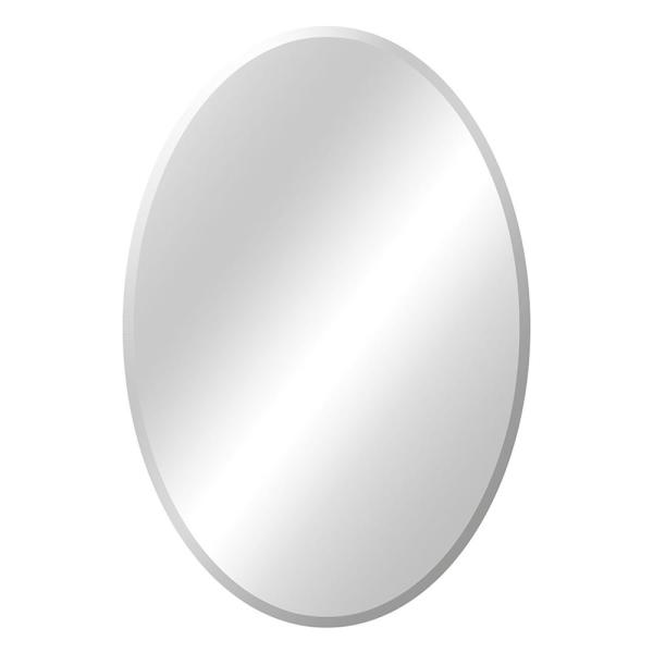 21 in. W x 31 in. H Frameless Oval Beveled Edge Bathroom Vanity Mirror in Silver