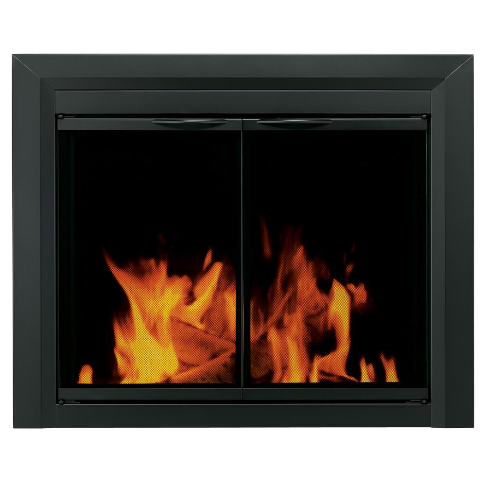Create a new look for your room by adding this elegant Pleasant Hearth Carlisle Small Black Cabinet Style Glass Fireplace Doors.