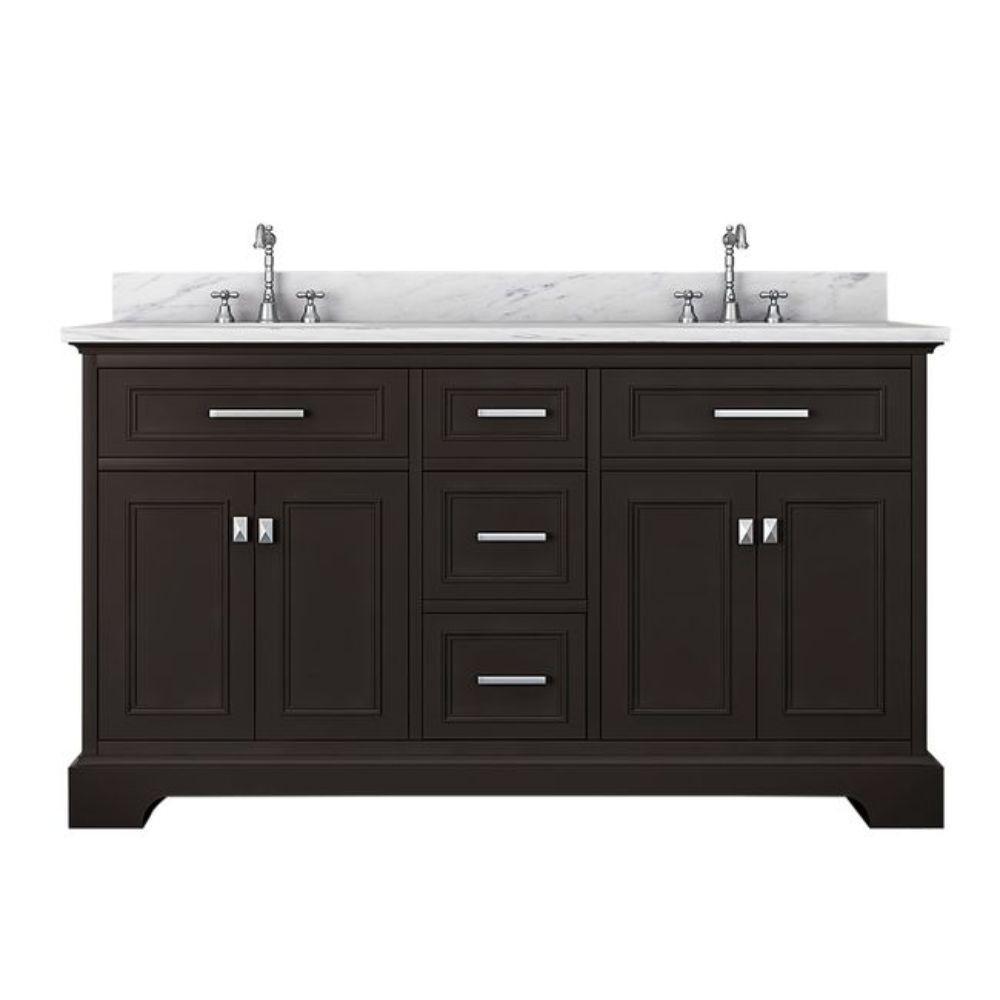 Alya Bath Yorkshire 61 in. W x 22 in. D Double Bath Vanity in Espresso with Marble Vanity Top in White with White Basin