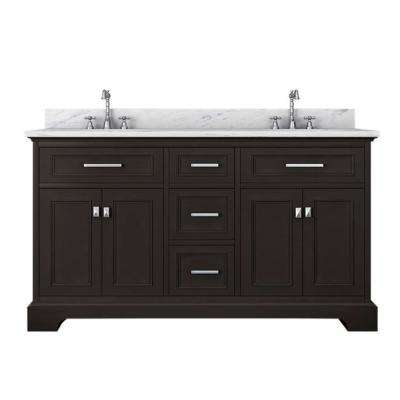 Yorkshire 61 in. W x 22 in. D Double Bath Vanity in Espresso with Marble Vanity Top in White with White Basin