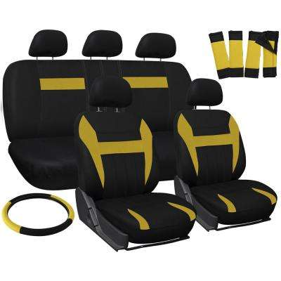 Polyester Seat Covers Set 26 in. L x 21 in. W x 48 in. H 17-Piece Seat Cover Set Yellow and Black
