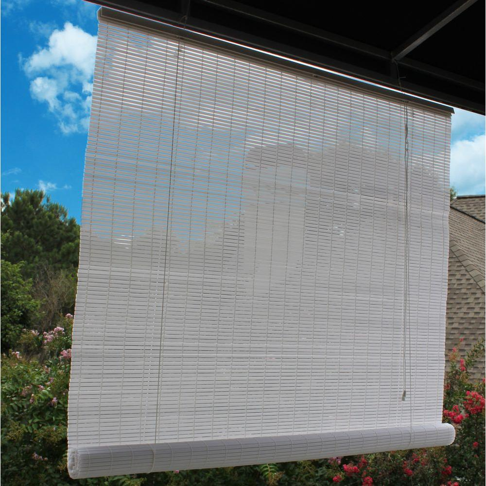 Attrayant L White Exterior Roll Up Patio Sun Shade