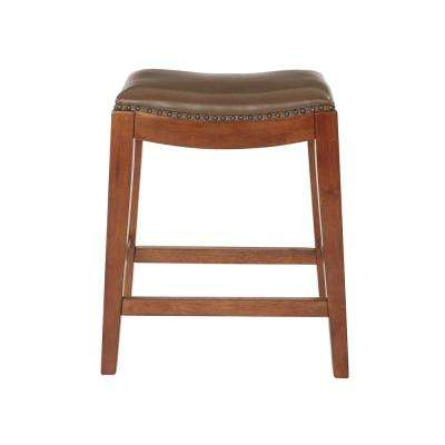 Metro 24 in. Molasses Bonded Leather Saddle Stool with Nail Head Accents and Espresso Legs