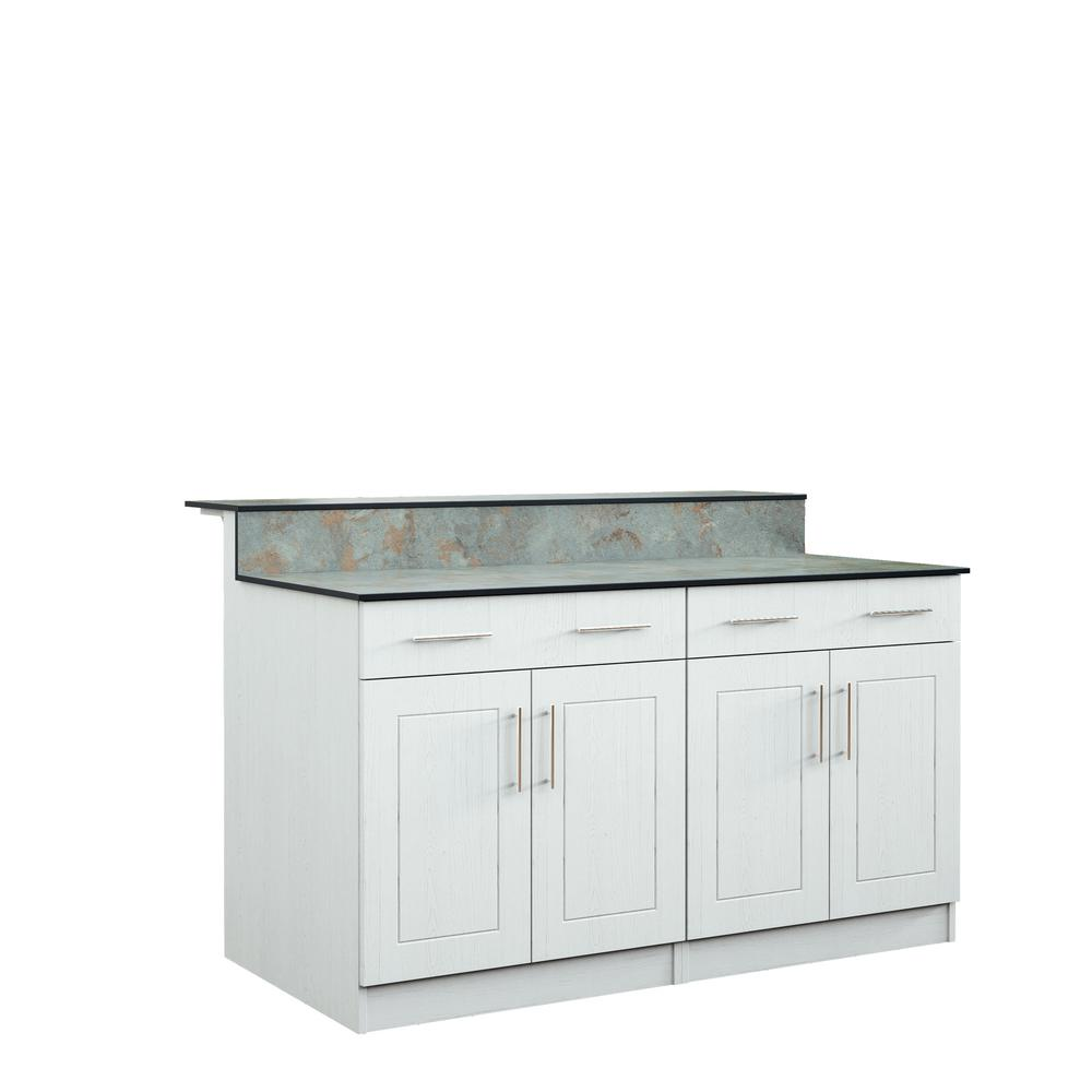Weatherstrong Palm Beach 59 5 In Outdoor Bar Cabinets With Countertop 4 Door And 2