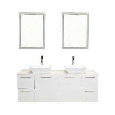 Luxury 60 in. W x 21 in. D x 26 in. H Vanity in White with Acrylic Top in White with White Basin