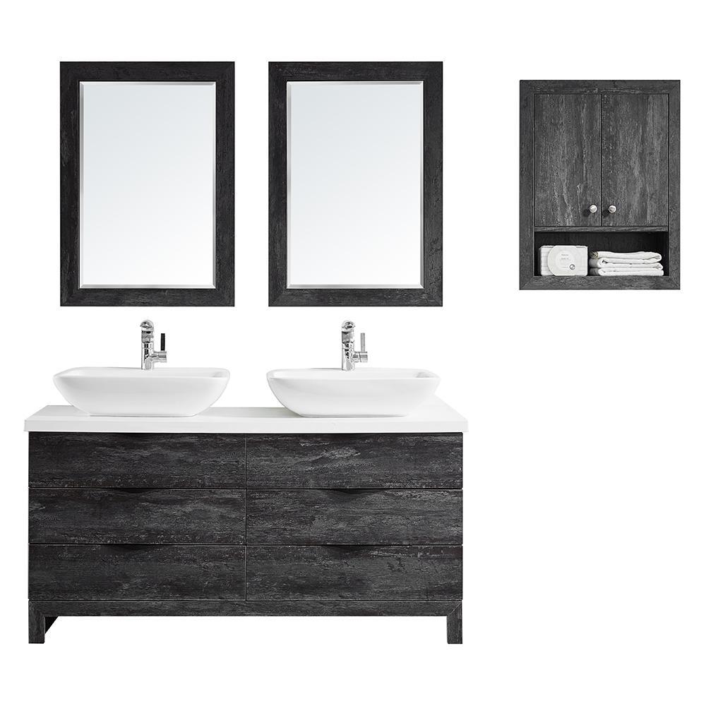Spencer 60 In W X 20 D Bath Vanity Grey With Quartz Top White Basinirrors