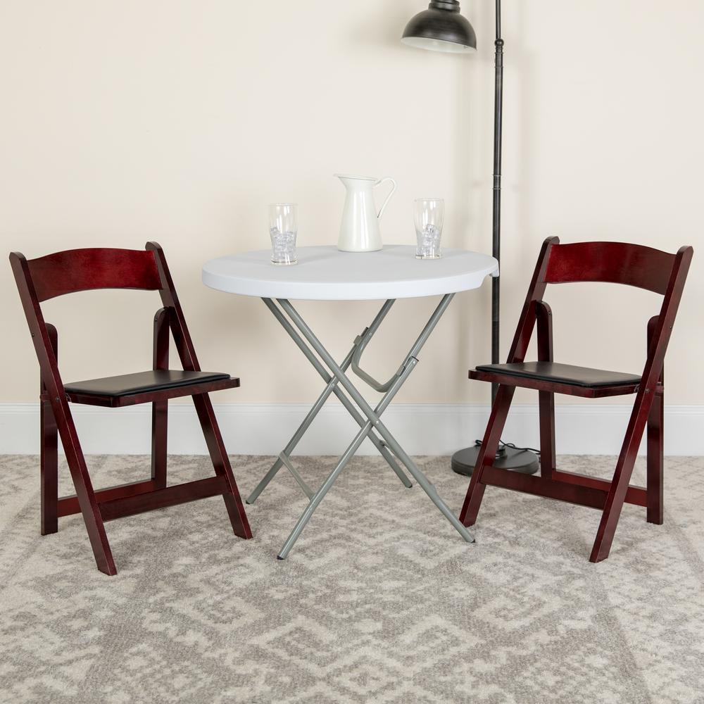 Flash Furniture Hercules Series Mahogany Wood Folding Chair with Vinyl Padded Seat