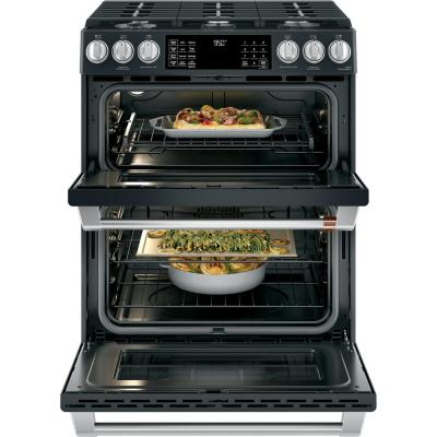 30 in. 7.0 cu. ft. Slide-In Double Oven Dual-Fuel Range with Self-Clean Convection in Matte Black, Fingerprint Resistant