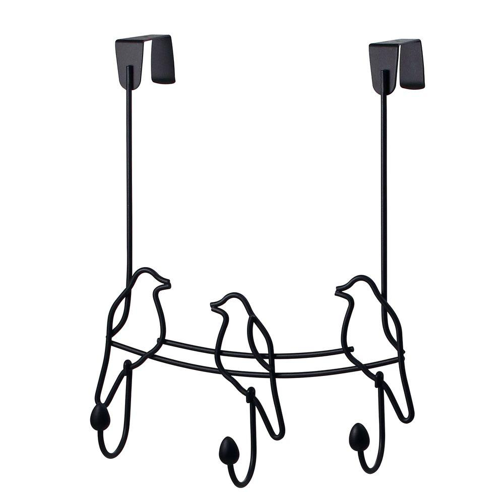 Black Tweet 10-1/2 in. L Decorative 3-Hook Over the Door Rack