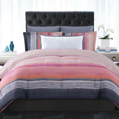 Sunset Stripe Pink King Comforter with 2-Shams