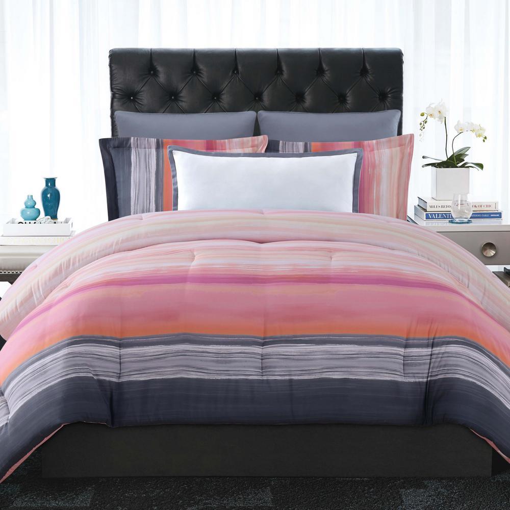 Sunset Stripe Pink King Comforter with 2-Shams