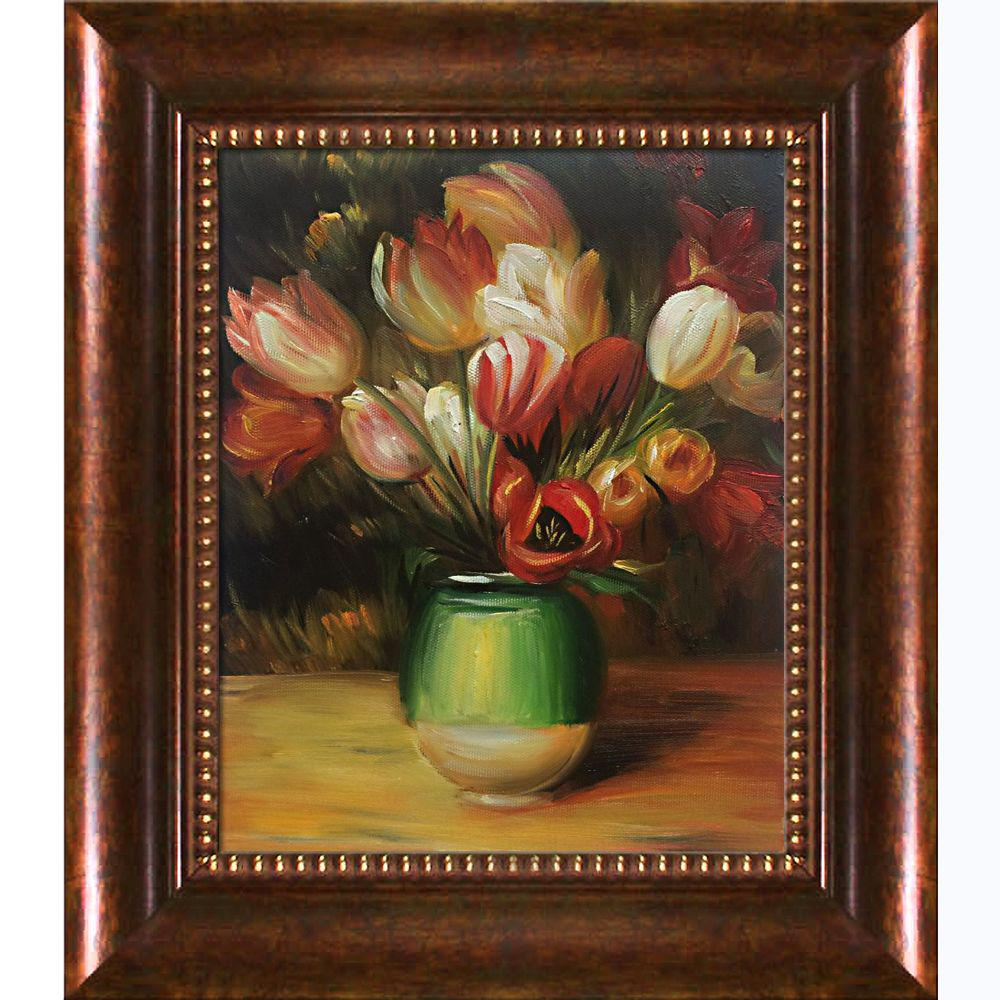 LA PASTICHE Tulips in a Vase with Verona Cafe Frameby Pierre-Auguste Renoir Oil Painting, Multi-Colored was $849.0 now $259.9 (69.0% off)