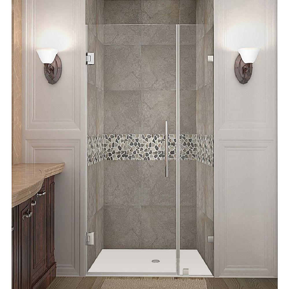 Nautis 31 in. x 72 in. Completely Frameless Hinged Shower Door