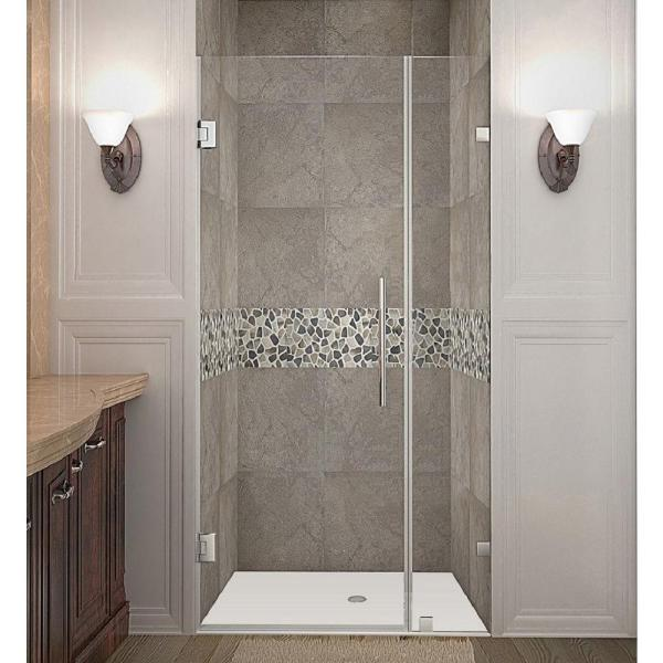 Nautis 31 in. x 72 in. Completely Frameless Hinged Shower Door in Stainless Steel with Clear Glass