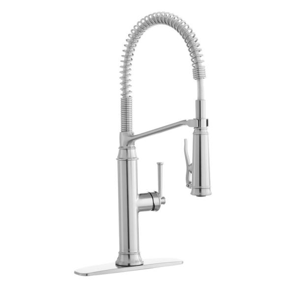 Linscott Single-Handle Coil Springneck Pull-Down Sprayer Kitchen Faucet in Stainless Steel