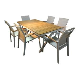 S'DENTE Lohme White Rectangle 7-Piece Faux Wood Sling Patio Dining Set by S'DENTE