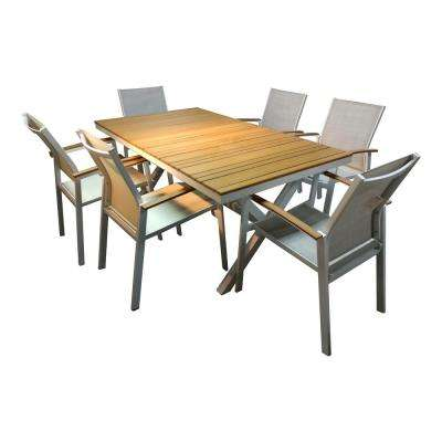 Lohme White Rectangle 7-Piece Faux Wood Sling Patio Dining Set