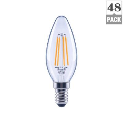 Ecosmart 40-Watt Equivalent B11 Candle Dimmable Energy Star Clear Glass Filament Vintage LED Light Bulb Daylight (48-Pack)