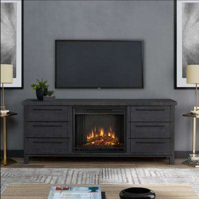 Parsons 67 in. Freestanding Electric Fireplace TV Stand in Antique Gray
