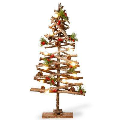23 in. Natural Looking Wooden Pieces Snowy Tree with Berry Decor Lamp Beads and 10 Warm White Battery Operating Indoor