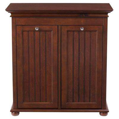 Hampton Harbor 26 in. Double Tilt-Out Beadboard Hamper in Sequoia