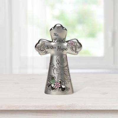 Tabletop Cross Zinc Alloy The Lord Is Our Hope Mini Figurine