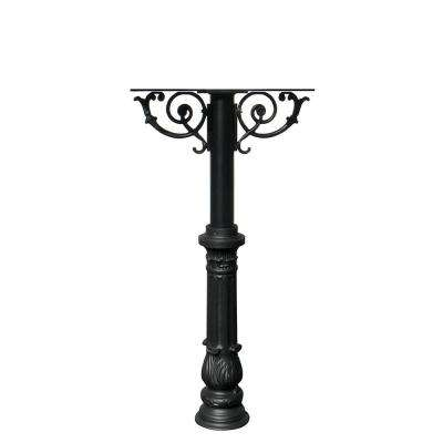 Hanford Twin Black Post Mounted Mailbox System with Decorative Scroll Supports and Ornate Base
