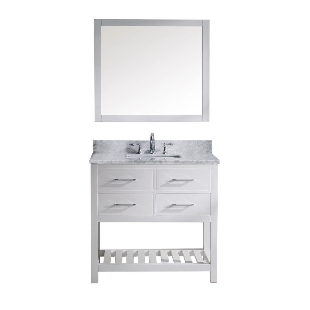 Virtu usa caroline estate 36 in w x 36 in h vanity with for Mirror 84 x 36