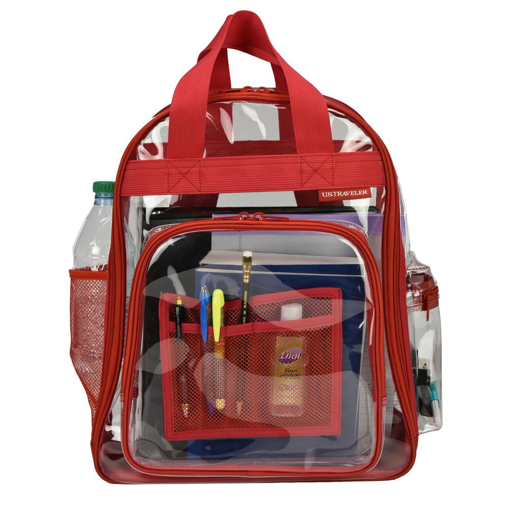 ddebc848b934 U.S. Traveler 17 in. Red Clear School Backpack/Travel Daypack with ...