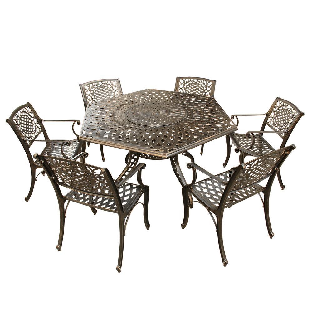 Contemporary Modern 7-Piece Bronze Aluminum Outdoor Dining Set with Lazy Susan