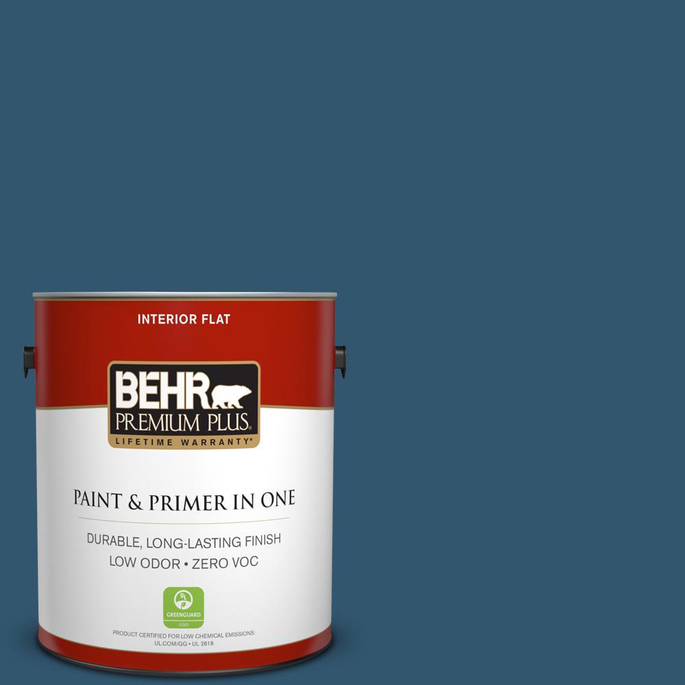 BEHR Premium Plus 1-gal. #S-H-540 Quiet Storm Zero VOC Flat Interior Paint