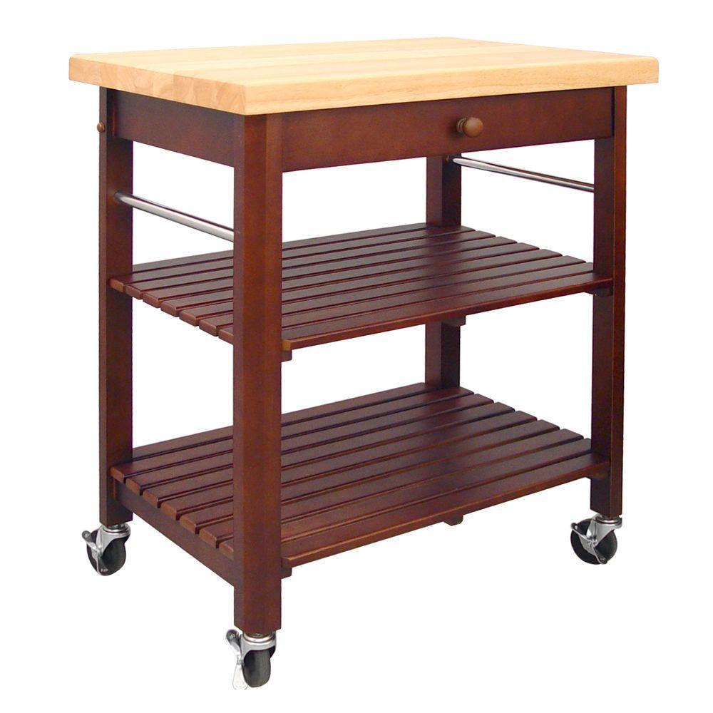 Cherry Stain Kitchen Cart With Shelf