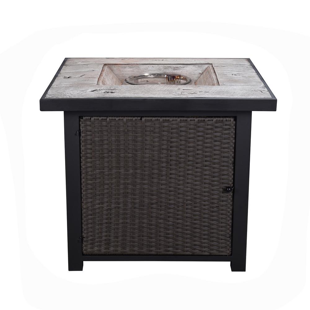 Peaktop 30 in. Outdoor Square Light Weight Concrete Propane Gas Fire Pit