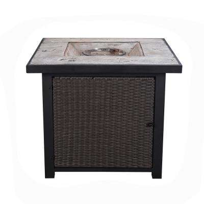 30 in. Outdoor Square Light Weight Concrete Propane Gas Fire Pit