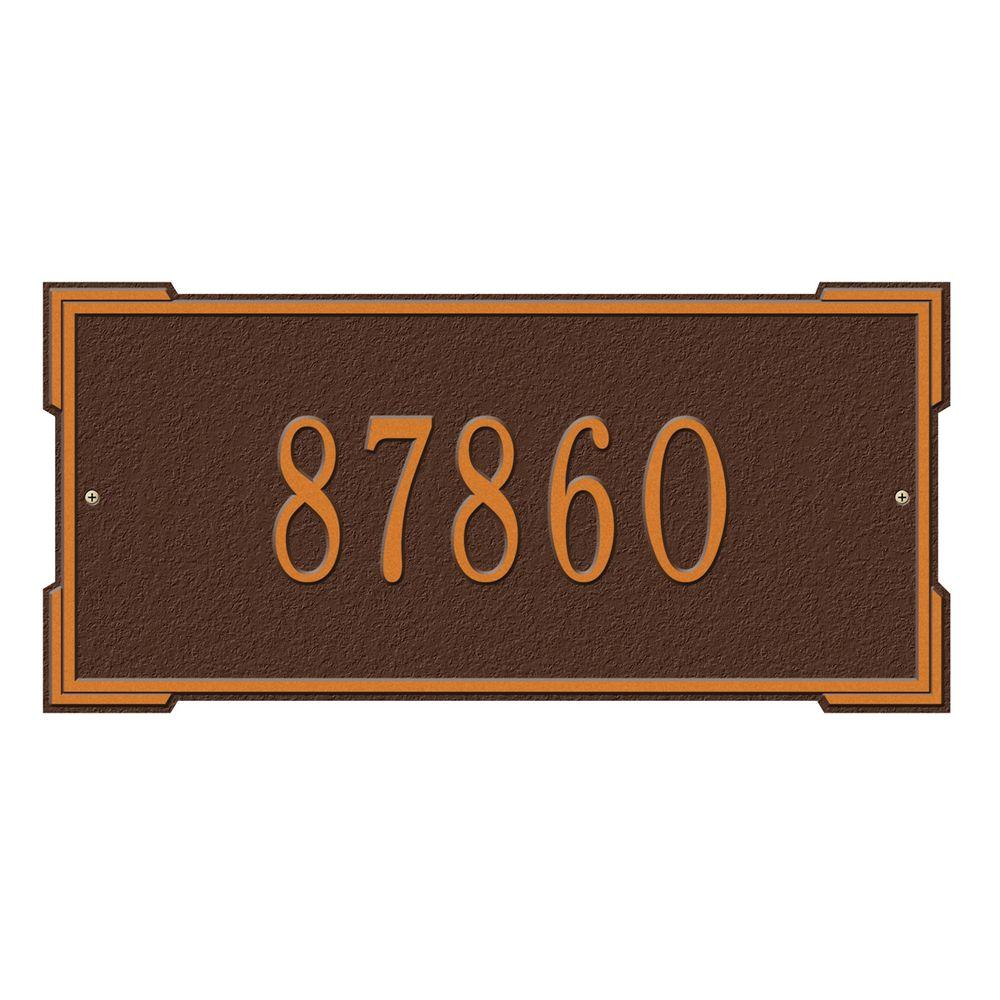 Whitehall Products Rectangular Roanoke Standard Wall 1-Line Address Plaque - Antique Copper